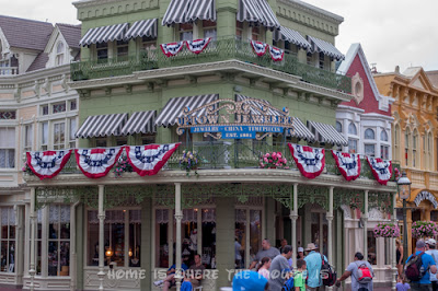Buildings on Main Street U.S.A. decorated with patriotic bunting