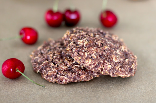Healthy Pink Berry Cherry Almond Oatmeal Cookie/Muffin Tops