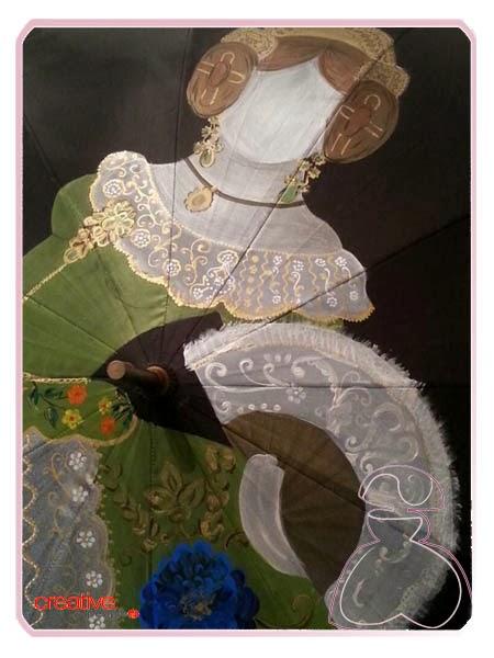 Detalle abanico que por la fallera en paraguas pintado a mano por Sylvia Lopez Morant