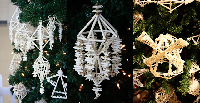And so what if they are a Christmas project? I am hanging mine up all year  round. It's pretty and modern and mathy. It sways and swivels in the breeze. - Decahedron Himmeli Mobile - Aunt Peaches