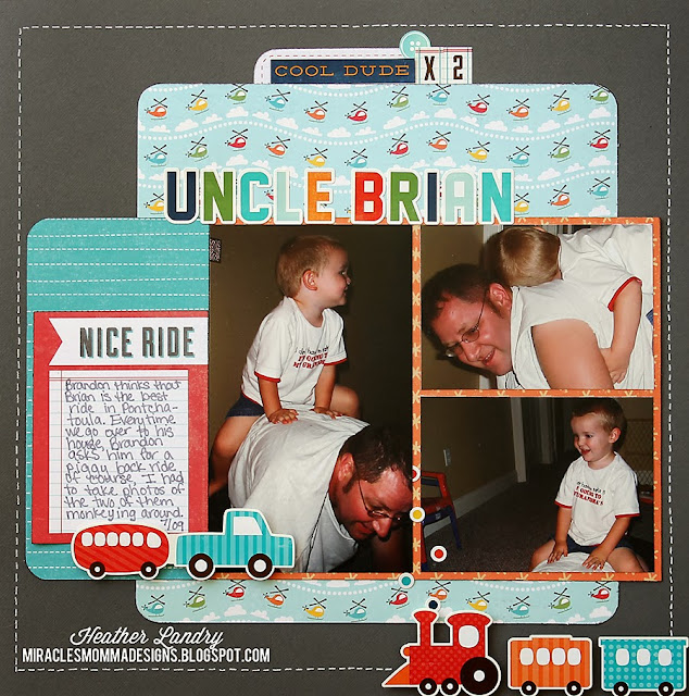 Piggyback Ride_Uncle_Scrapbook Page_Train_Little Boy