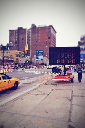 New York Straße Taxi Baustelle Oktober 2013