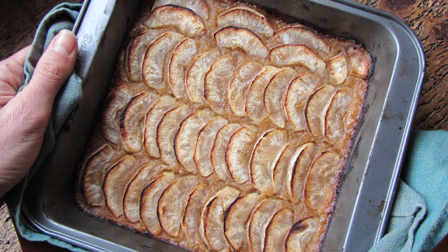 Applesauce tart in the square baking tray after being cooked. Apples are browned on edges.