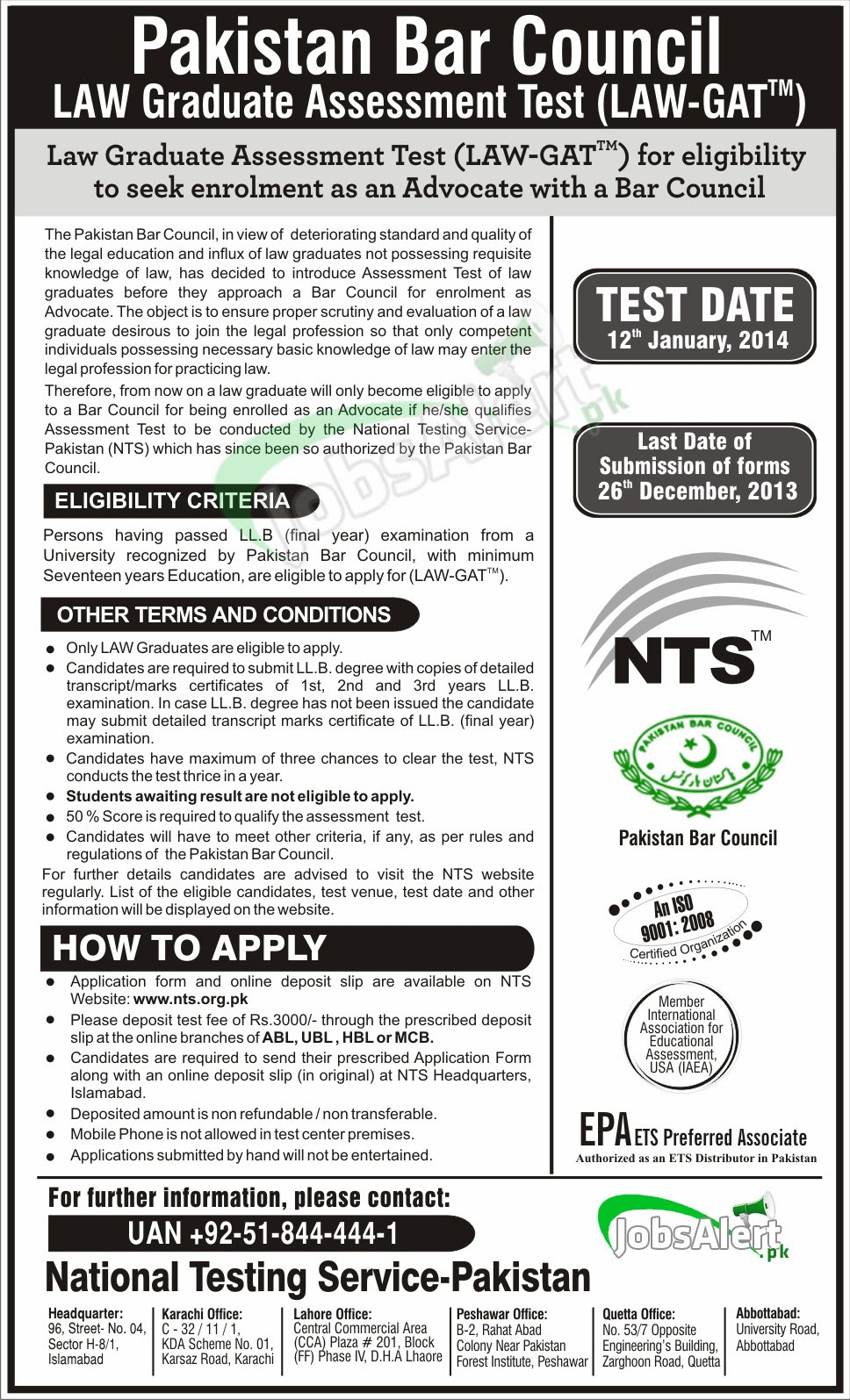 NTS GAT LAW Test Schedule, Registration Form, Test Details 2014