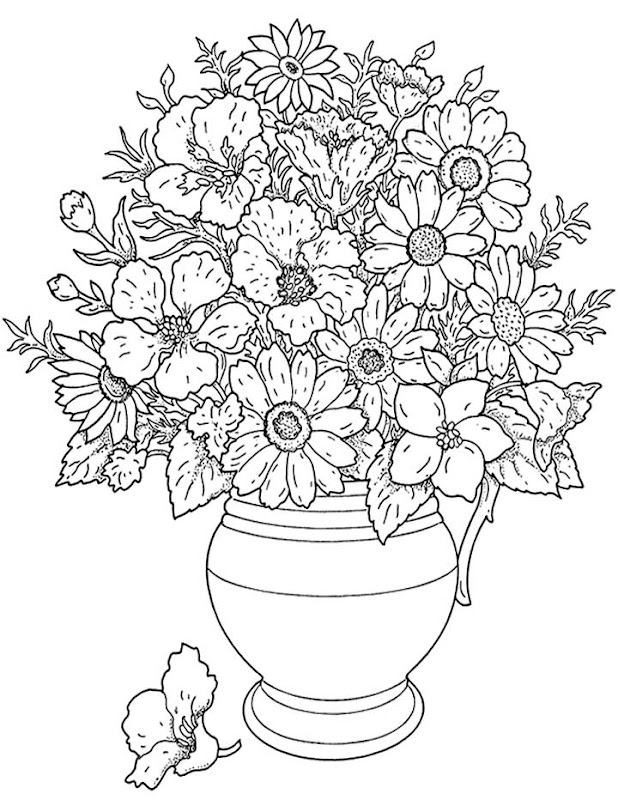 Free Flower Coloring Pages For Adults title=