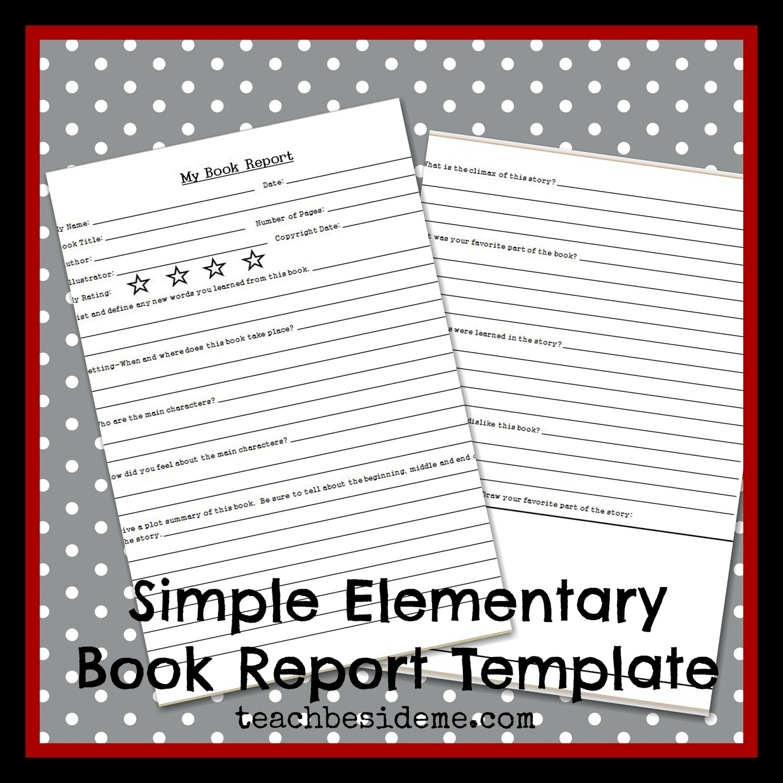 Elementary Level Book Report Template Teach Beside Me