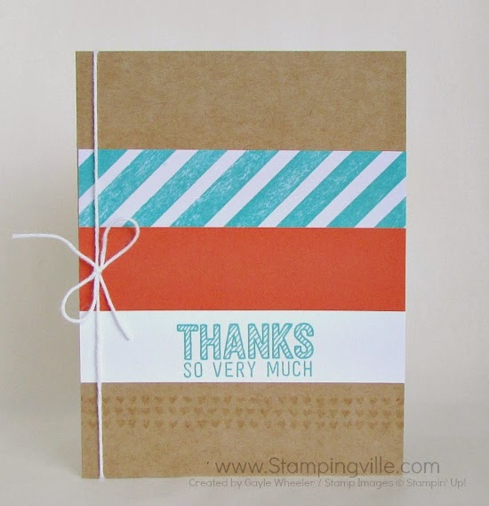 Simple thank you card with Simply Wonderful stamp set by Stampin' Up! #cardmaking #papercrafts #stampinup