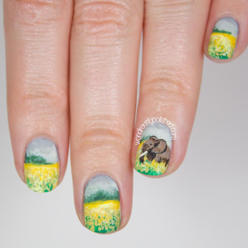 Wondrously Polished 31 Day Nail Art Challenge: Animal: Elephant Landscape Nail