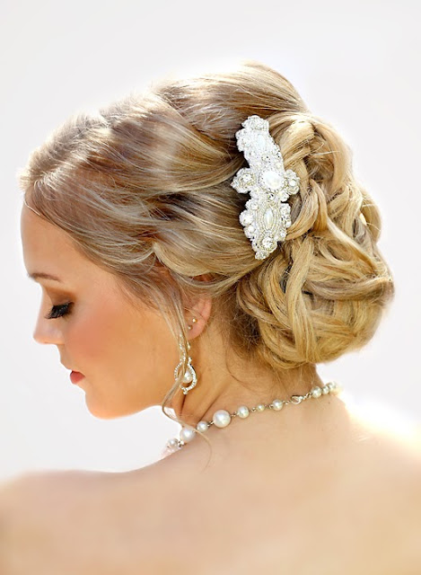 """Juliette Hair Clip"" - Lace Bridal Headpiece"