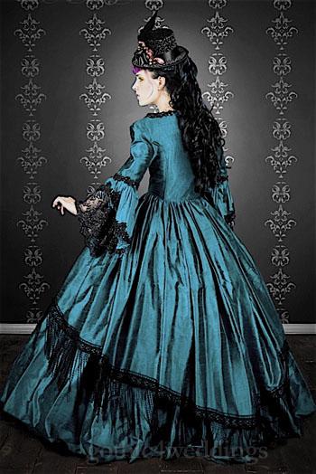 Gothic steampunk marie antoinette wedding dress handmade for Marie antoinette wedding dress