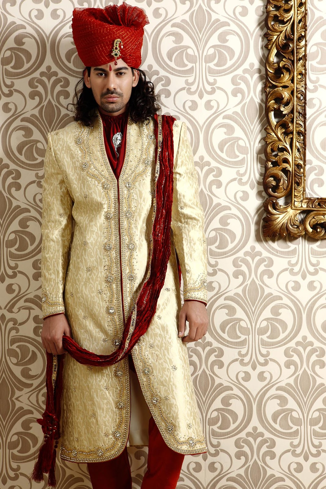 Indian Wedding Dress For Men With Hand Work Embroidery