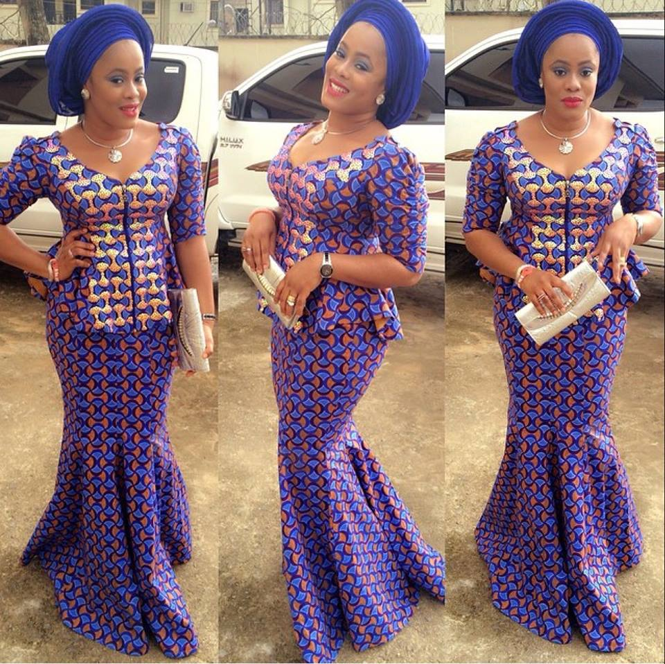Trendy Ankara Style Paired With Blue Gele Debonke House Of Fashion