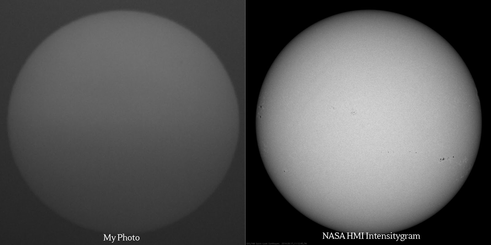sun compare to HMI