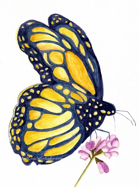 Orange Yellow Butterfly Watercolors