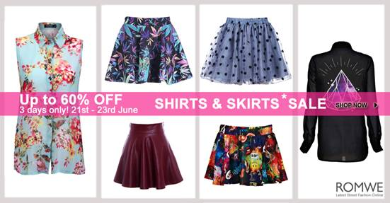 Romwe Shirt & Skirt Sale  Up to 60%off
