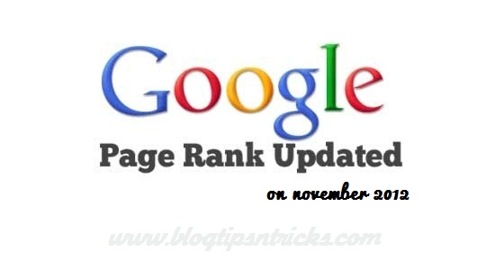 Official Google Page Rank Update on 8 November 2012