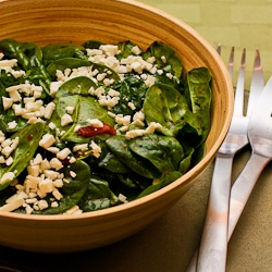 Spinach Salad Recipe with Bacon and Feta | Kalyn's Kitchen®