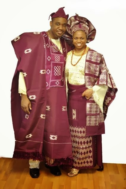 African Clothing: Burgundy and Cream African Attire for Couples in Aso
