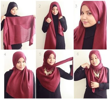 Hijab Pashmina Merah Marun yang Indah