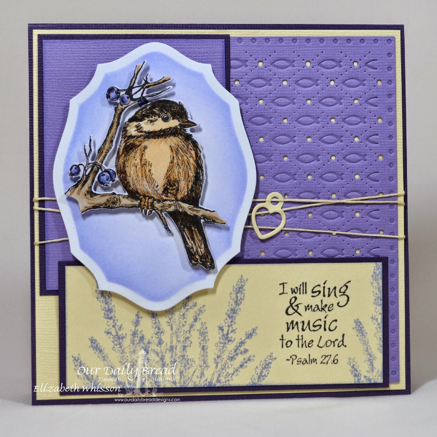 Our Daily Bread Designs, You Will Find Refuge, Lavender, Just a Note, Faithful Fish Pattern Die and Debossing Plate, Mini Tag Dies, Chickadee Die, Elegant Oval Dies, Designed by Elizabeth Whisson