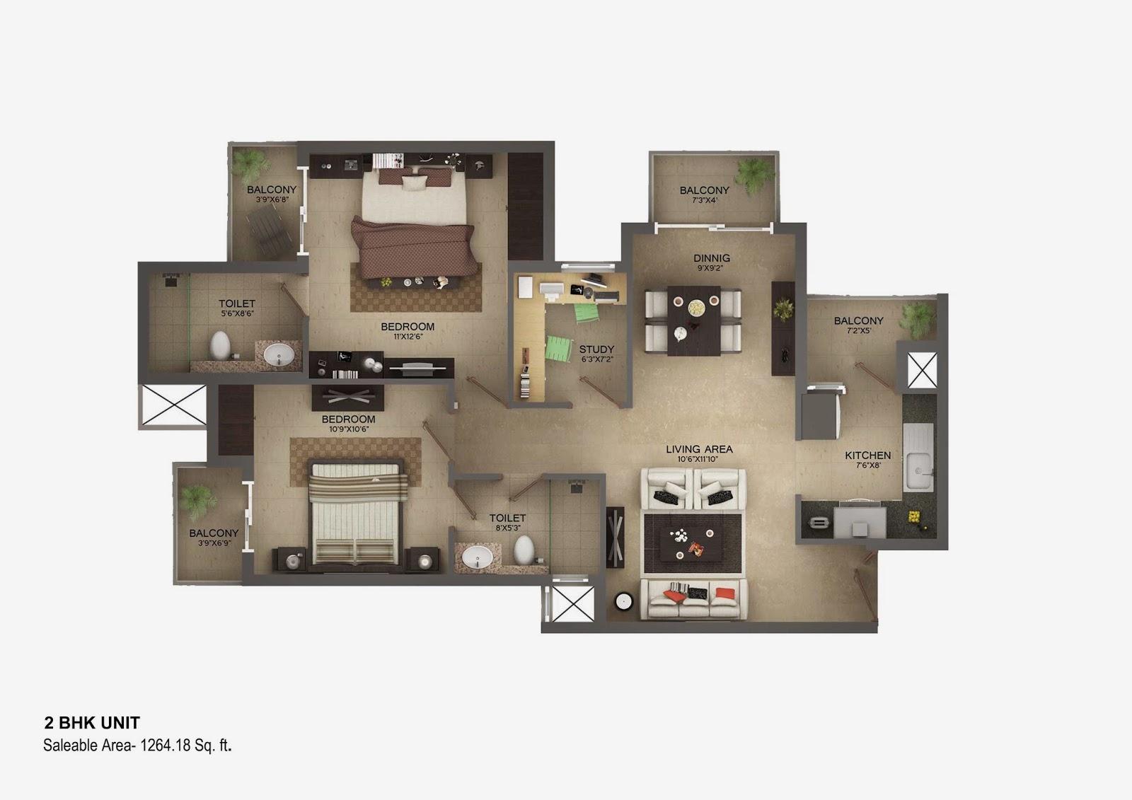 Vasilia Floor Plan 2 bhk