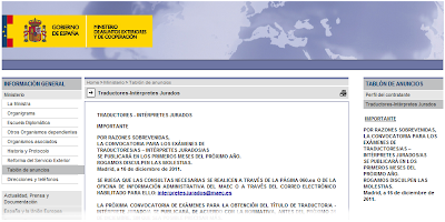Convocatoria examen traductor jurado 2012