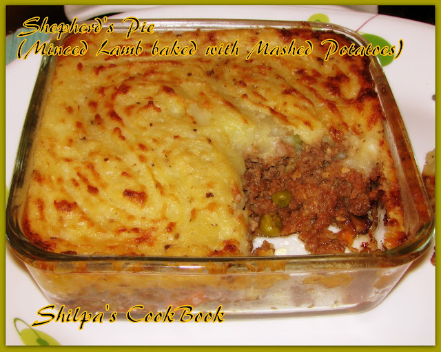 Cook Book: Shepherd's Pie ( Minced Lamb baked with Mashed Potatoes)