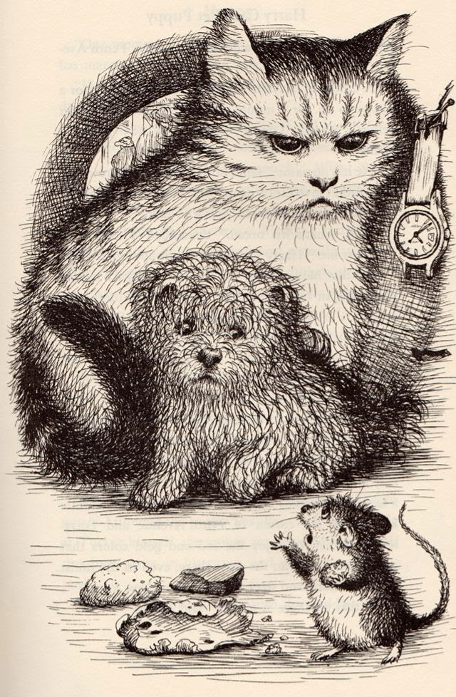 illustration by Garth Williams of a cat a dog and a mouse