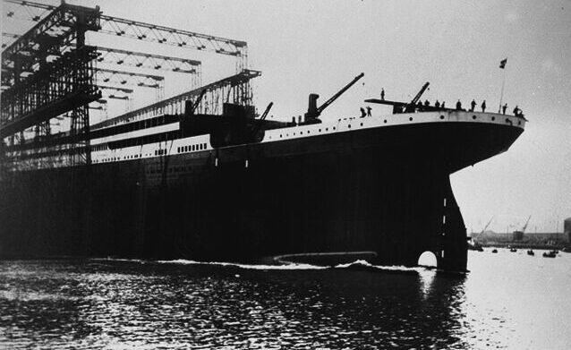 Documentary Photographs of Titanic: Titanic Slides into the Lagan