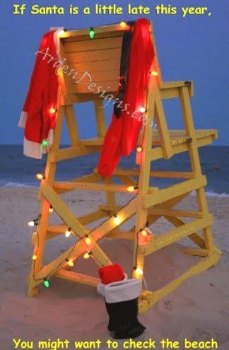 Santa at the beach cards