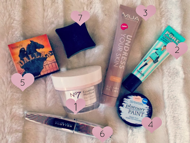 Benefit, Benefit Dallas Bronzer, Benefit Porefessional Primer, Illamasqua Brow Cake, L'Oreal Flutter Lash, MUA Undress Your Skin Foundation, No.7, No7 Beautiful Skin Day Cream, Seventeen Phwoarr Paint,