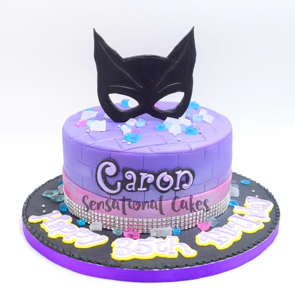 Catwoman With Edible Gems In Purple Color Theme Cake Singapore Singaporecake