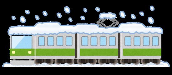 雪で止まる電車のイラスト