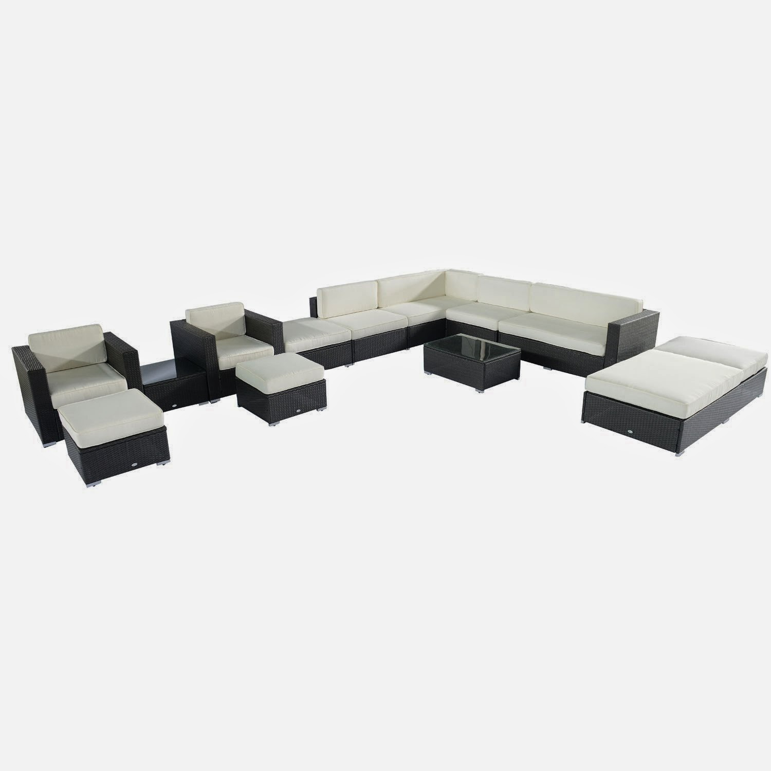 Outsunny Outdoor Rattan Sectional Furniture Outdoor