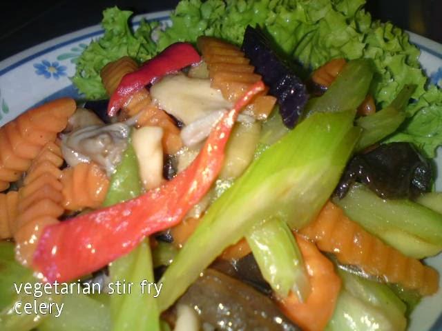 Cooking Pleasure: Vegetarian Stir Fry Celery with Mushrooms