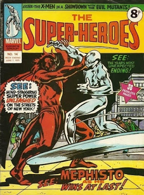 Marvel UK, The Super-Heroes #14, Silver Surfer vs Mephisto