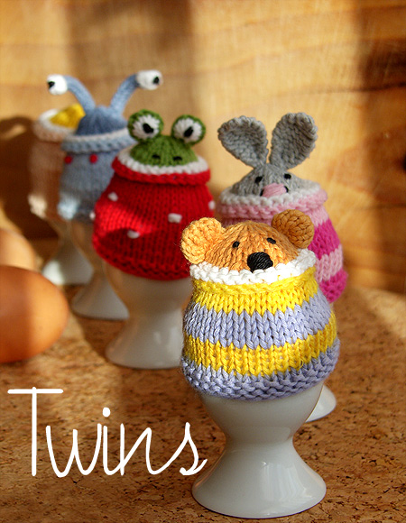 Funny Knitting Patterns : Twins knitting pattern minishop funny egg cosy gang in