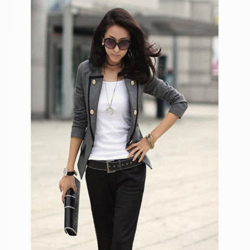 Women Ladies One Button Blazer Slim OL Casual Suit Jacket Coat Outerwear
