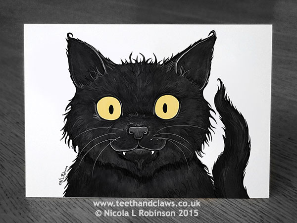 Black Cat Card © Nicola L Robinson 2015 www.teethandclaws.co.uk