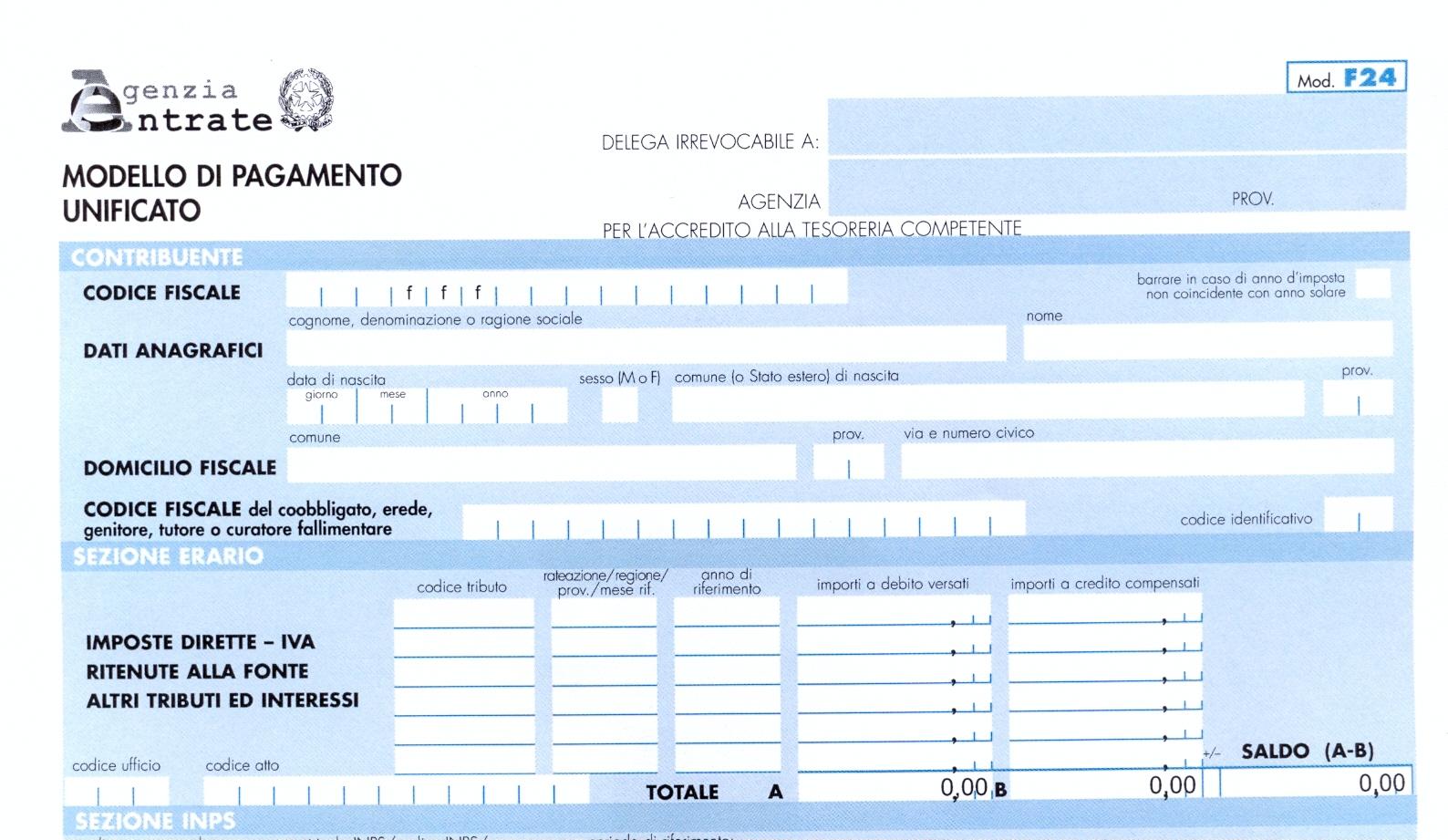 F24 a saldo zero solo tramite entratel for Pagamento f24