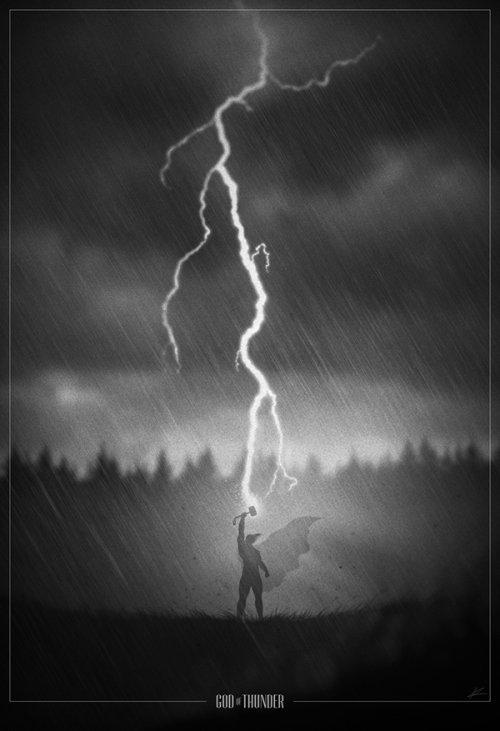marko manev ilustração poster super heróis noir minimalista preto e branco thor deus do trovão