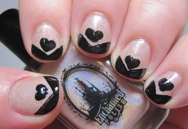 black tip and heart on nude holo base