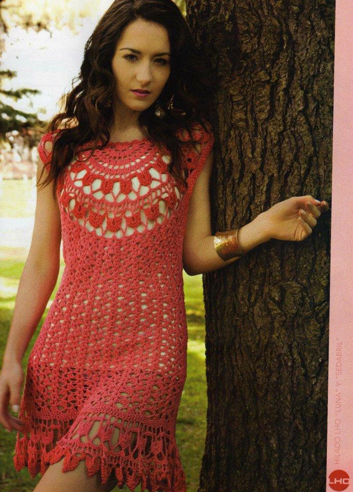 Связать крючком по схемам ажурные летние платья.  55 (367x512, 87Kb) .