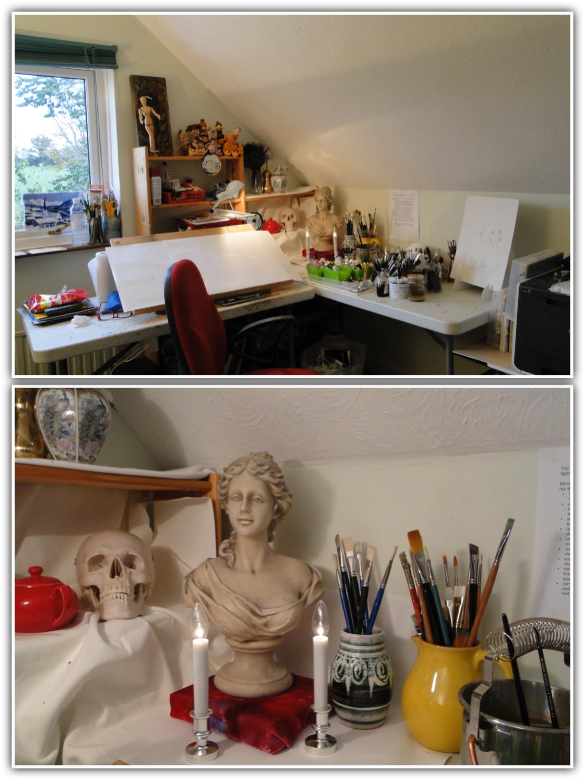 The still life corner in my studio at Pet Portraits by Karen