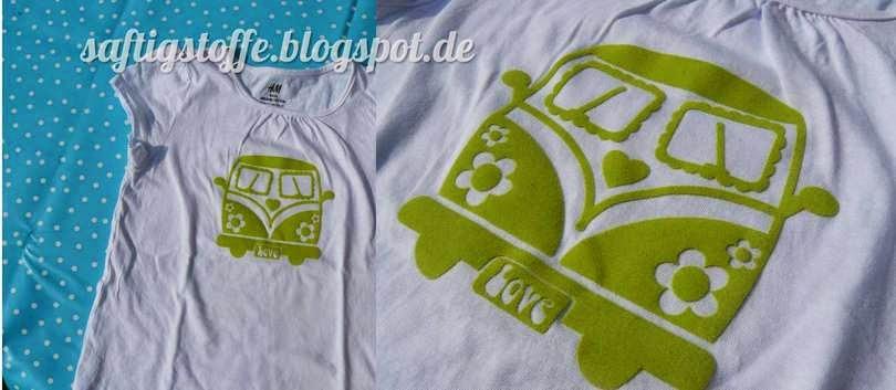 Velours Aufbügler hellgrüner VW Bulli von Kära Groda