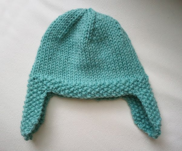 Knitting Pattern For Infant Hat With Ear Flaps : LuluKnits: Seed Stitch Ear flap Hat