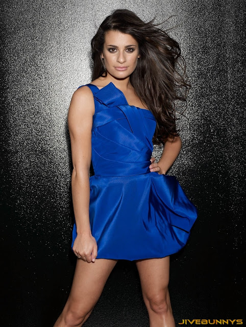 Lea Michele in Sapphire Blue Strapless Bubble
