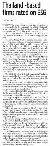 Thailand -based firms rated on ESG