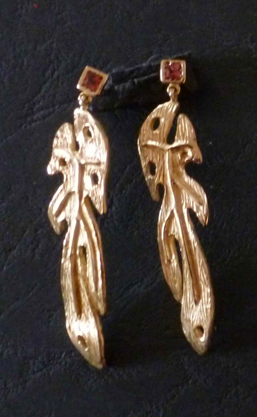 Orecchini in bronzo con tormaline rosa