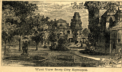 engraving of Gray Towers, G.G. Green's Mansion in Woodbury, New Jersey